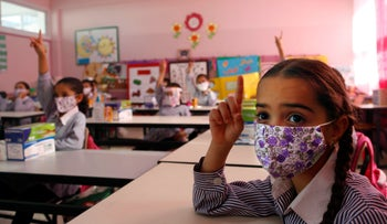 Palestinian elementary school students during the coronavirus pandemic on the first day of class at a UN-run school in Ramallah, September 6, 2020.