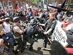 White supremacists, neo-Nazis and other protesters at the August 12, 2017 rally in Charlottesville, Virginia, which quickly morphed into a violent confrontation with hundreds of antifa activists.