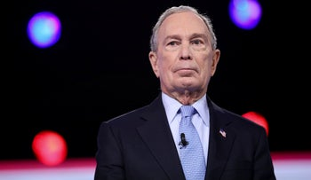 Former New York Mayor Mike Bloomberg arrives at the Gaillard Center in Charleston, South Carolina, February 25, 2020.