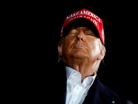 U.S. President Donald Trump holds a campaign rally at Des Moines International Airport in Des Moines, Iowa, October 14, 2020.