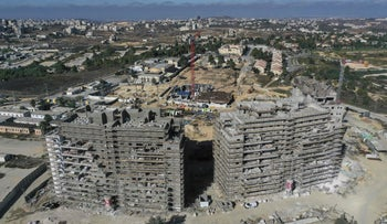 New apartment buildings under construction in the Beit El settlement in the occupied the West Bank, October 13, 2020.