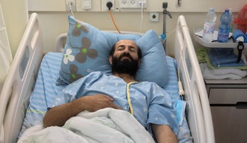 Palestinian prisoner Maher Akhras, who has been on hunger strike for close to 80 days to protest his detention without charge, in Kaplan Hospital, Rehovot, Israel, September 29, 2020.