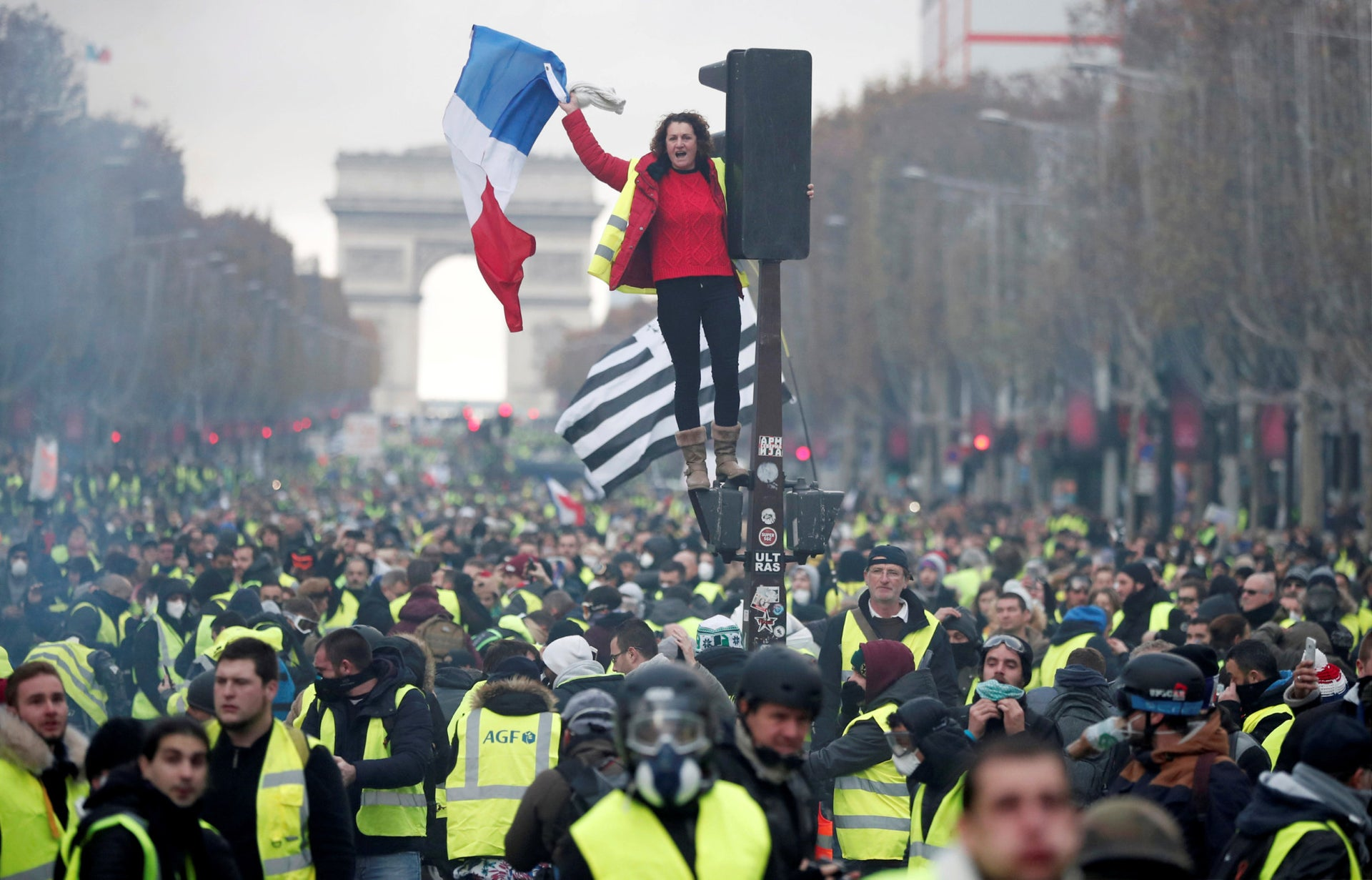 Yellow Vests protest in Paris, France, 2018.
