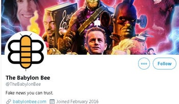 Image of the Babylon Bee's official Twitter account