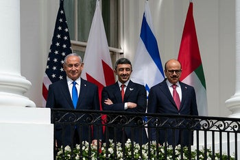 Israeli Prime Minister Benjamin Netanyahu with United Arab Emirates Foreign Minister Abdullah bin Zayed al-Nahyan and Bahrain Foreign Minister Khalid bin Ahmed Al Khalifa during the Abraham Accords signing ceremony in Washington, September 15, 2020.