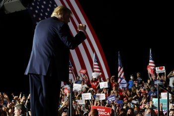 U.S. President Donald Trump at the end of a campaign rally at Orlando Sanford International Airport in Florida, October 12, 2020.