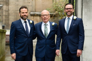 Three members of the Murdoch family:Lachlan, left, Rupert and James.