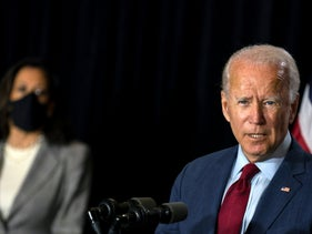 Democratic presidential candidate former Vice President Joe Biden joined by his running mate Sen. Kamala Harris, D-Calif., speaks at the Hotel DuPont in Wilmington, Del., Thursday, Aug. 13, 2020.