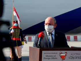 Israel's chief of National Security Council Meir Ben-Shabbat delivers a statement upon his arrival at the Bahraini International Airport on October 18, 2020.