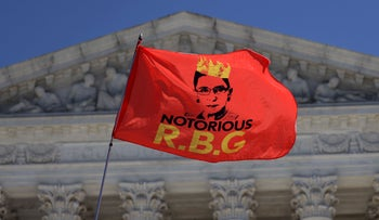 An RBG flag is flown in front of the U.S. Supreme Court for the late Justice Ruth Bader Ginsburg in Washington, DC., September 21, 2020.