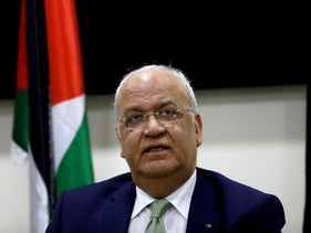 Chief Palestinian negotiator Saeb Erekat looks on during a news conference following a meeting with foreign diplomats in Ramallah, West Bank, January 30, 2019.