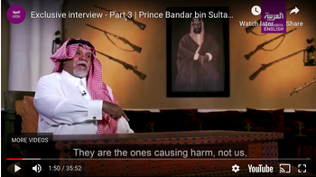 Former Saudi intelligence chief and ex-ambassador to the U.S. Prince Bandar bin Sultan during an October 2020 Al Arabiya TV series in which he called Palestinians 'liars, cheats and ungrateful'