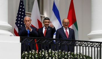 Prime Minister Benjamin Netanyahu, UAE Foreign Minister Abdullah bin Zayed and Bahrain's Foreign Minister Abdullatif Al Zayani at the Abraham Accords signing in the U.S., September 15, 2020.