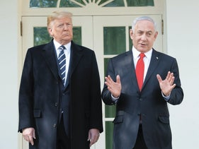 U.S. President Donald Trump and Israeli Prime Minister Benjamin Netanyahu speak to the press at the White House, January 27. 2020.