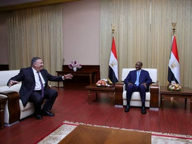 U.S. Secretary of State Pompeo meets with Sudan's ruling military council leader in Khartoum, Sudan, August 2020.
