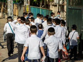 A religious school opens in Jerusalem, in violation of coronavirus regulations, October 18, 2020.