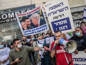 Small business owners protest in Tel Aviv, October 15, 2020.