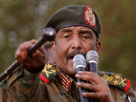 Gen. Abdel-Fattah Burhan, military council head, speaks during a military-backed rally in Omdurman district west of Khartoum, Sudan, June 29, 2019