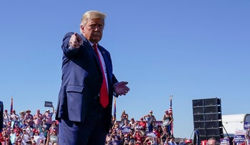 President Donald Trump gestures after speaking at a campaign rally at Prescott Regional Airport, Monday, Oct. 19, 2020, in Prescott, Ariz.