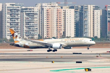 An Etihad Airways plane carrying a delegation from the UAE lands at Ben Gurion Airport, October 20, 2020.