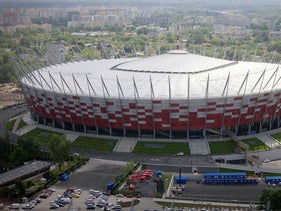 This Friday, May 18, 2012 file photo aerial view, made from an hot air balloon, shows the National Stadium, in Warsaw, Poland
