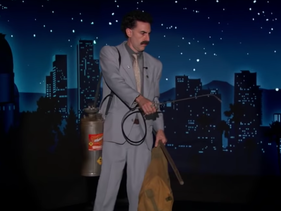 Sacha Baron Cohen as Borat Sagdiyev on 'Jimmy Kimmel Live,' October 19, 2020.