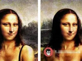 A fake nude image of the Mona Lisa created by the AI bot and deep fake software.