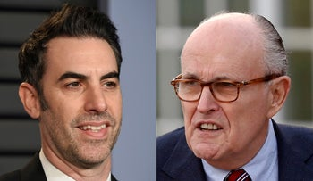 Sacha Baron Cohen in Beverly Hills, Calif., on March 4, 2018, left, and  former New York Mayor Rudy Giuliani at the Trump National Golf Club Bedminster clubhouse in Bedminster, November 20, 2016.