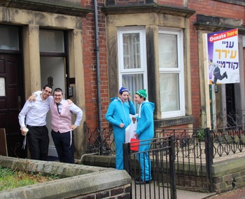 A group of Haredi Purim revelers in Gateshead, England, just before national COVID-19 restrictions came into force. March 10, 2020
