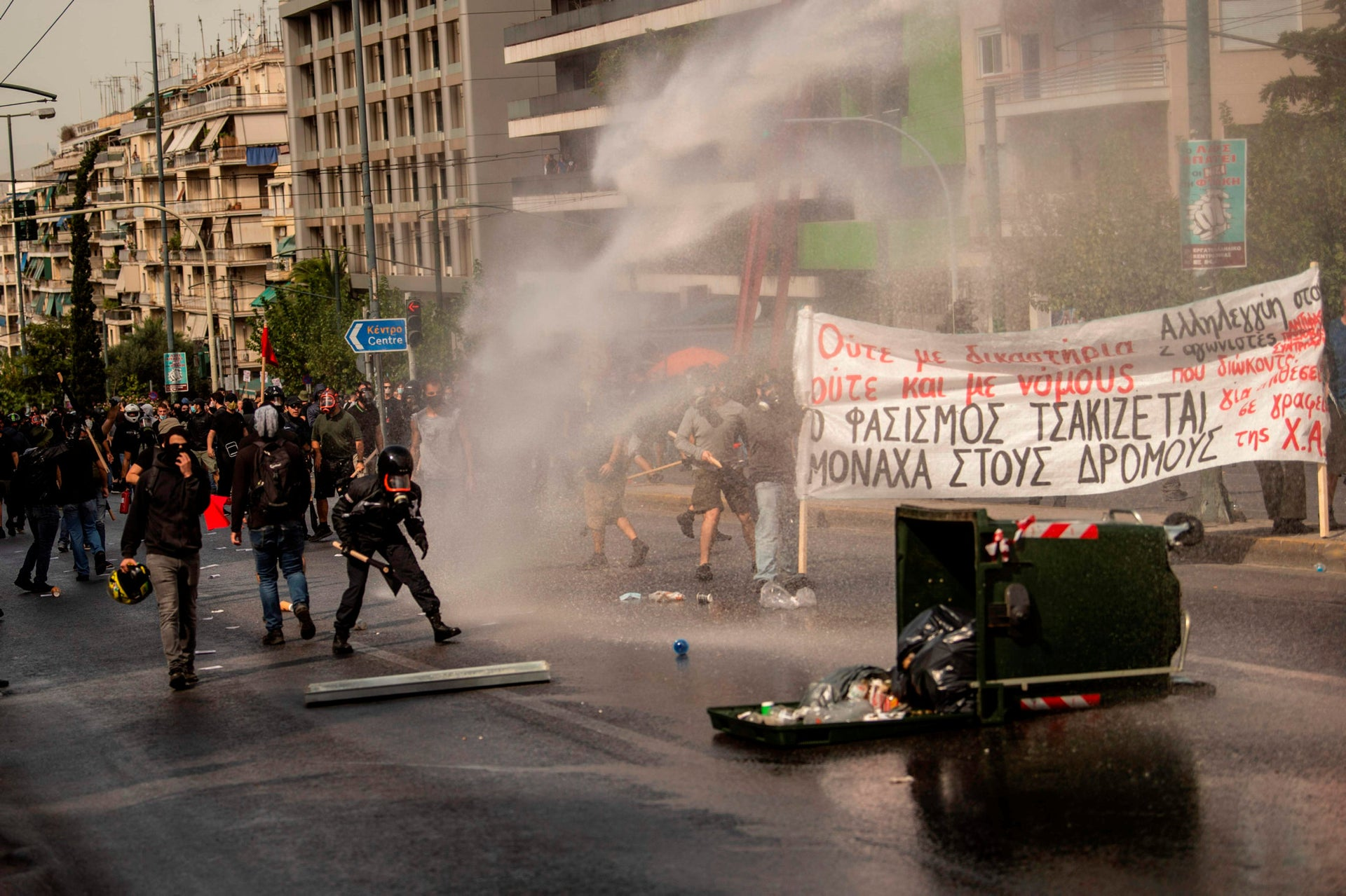Police use water cannon against protesters in Athens on October 7, 2020.