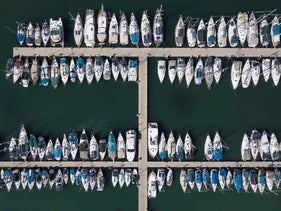 Boats crowd the mooring at the Tel Aviv marina, October 17, 2020.