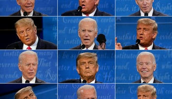 This combination of pictures shows Donald Trump and Joe Biden during the final presidential debate at Belmont University in Nashville, Tennessee, on October 22, 2020, October 22, 2020.
