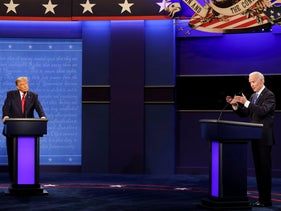 U.S. President Donald Trump and Democratic presidential nominee Joe Biden participate in their second 2020 presidential campaign debate in Nashville, Tennessee, U.S., October 22, 2020.