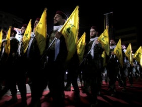 Hezbollah fighters march at a rally to mark Jerusalem day or Al-Quds day, in the southern Beirut suburb of Dahiyeh, Lebanon, May 2019.