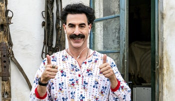 "Sacha Baron Cohen wearing his ""Michael the Mouse"" pajamas in ""Borat Subsequent Moviefilm."""