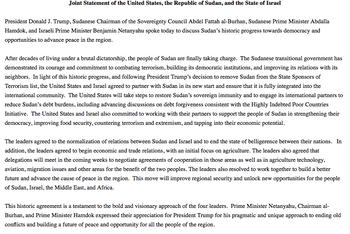 Joint statement of the United States, Sudan and Israel