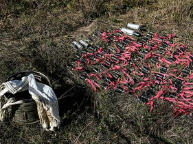 Unexploded cluster bombs during the ongoing military conflict between Armenia and Azerbaijan over the breakaway region of Nagorno-Karabakh, October 12, 2020.