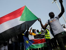 A protest by Sudanese asylum seekers in Tel Aviv, 2019