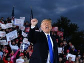 US President Donald Trump gestures during a campaign rally at Pickaway Agriculture and Event Center in Circleville, Ohio. October 24, 2020