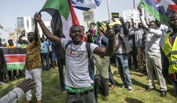 Asylum seekers from Sudan demonstrating in Tel Aviv, 2019.