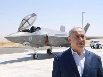 Netanyahu beside an F-35 fighter jet, 2019.