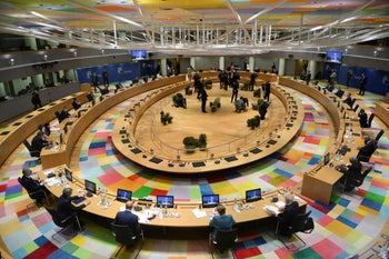 EU summit round table meeting at the European Council building in Brussels, Oct. 1, 2020 to address foreign affairs including Turkey and tensions in the eastern Mediterranean