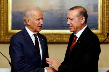 Then-U.S. Vice President Joe Biden meets with Turkey's President Tayyip Erdogan at Beylerbeyi Palace in Istanbul. November 22, 2014