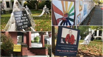 """Clockwise from top: A garden decked out with skeletons for Halloween; decorated boards outside the Tree of Life, a placard featuring Mr. Rogers; and a """"No place for hate"""" sign in Squirrel Hill."""