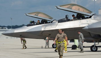 An F-22 Raptor at a U.S. airbase in Ohio, August 2020.