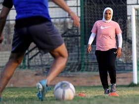 Faiza Heidar attends a training of all-male Ideal Goldi team in Giza, Egypt, October 19, 2020.