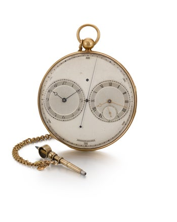 Breguet gold precision watch constructed on the principle of resonance with two dials, estimated at 400,000 - 600,000 GBP ($521,000 - $780,000).