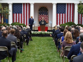 Judge Amy Coney Barrett speaks after being nominated to the US Supreme Court by President Donald Trump in the Rose Garden of the White House in Washington, DC, September 26, 2020.
