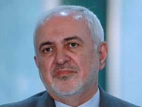 Mohammad Javad Zarif speaks during a press conference during his visit to Baghdad, Iraq, July 19, 2020.