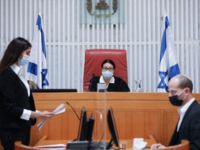 Chief Justice Esther Hayut sits in the High Court of Justice, Jerusalem, October 27, 2020.